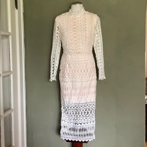 Misguided NWT white/nude midi Dress
